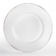 The Jay Companies 1970002 Round Glass Charger Plate with Platinum Rim 13""
