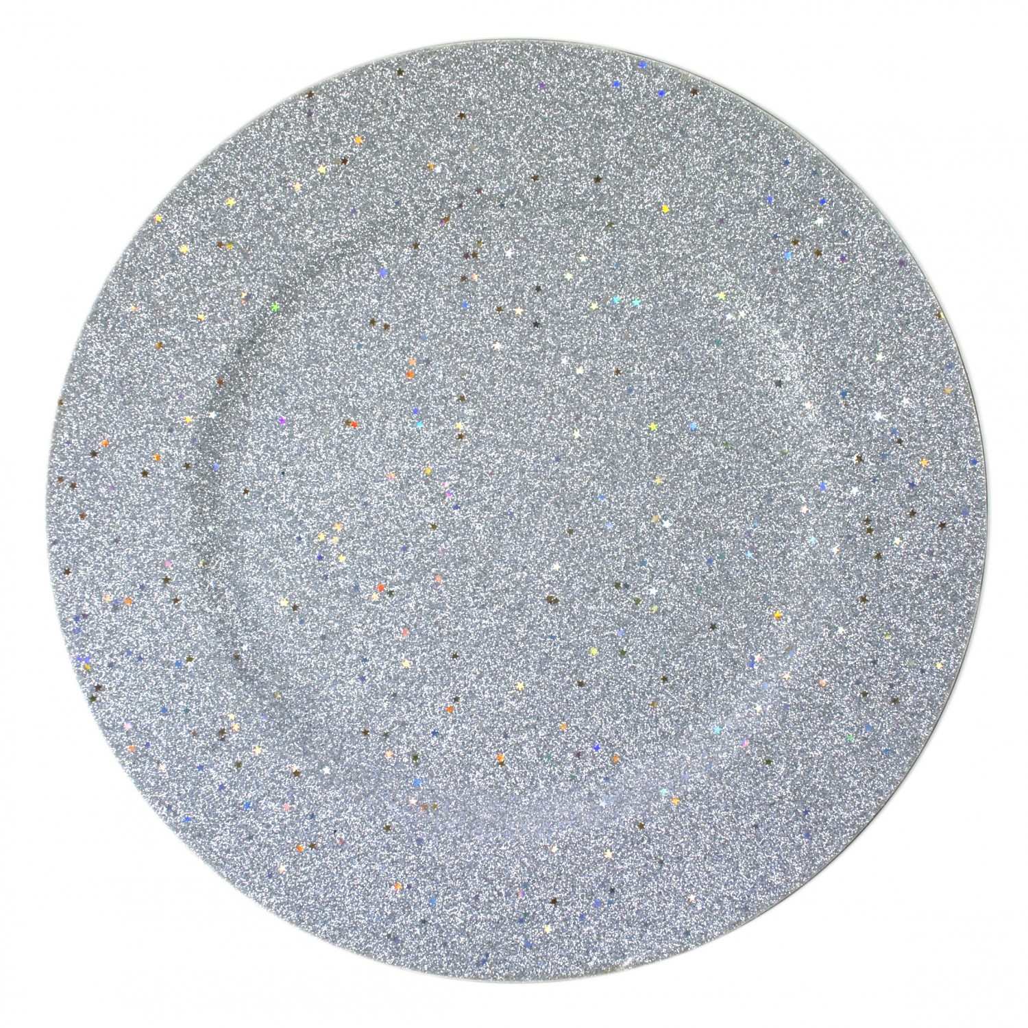The Jay Companies 1180019 Glitter and Stars Silver Charger Plate 13""
