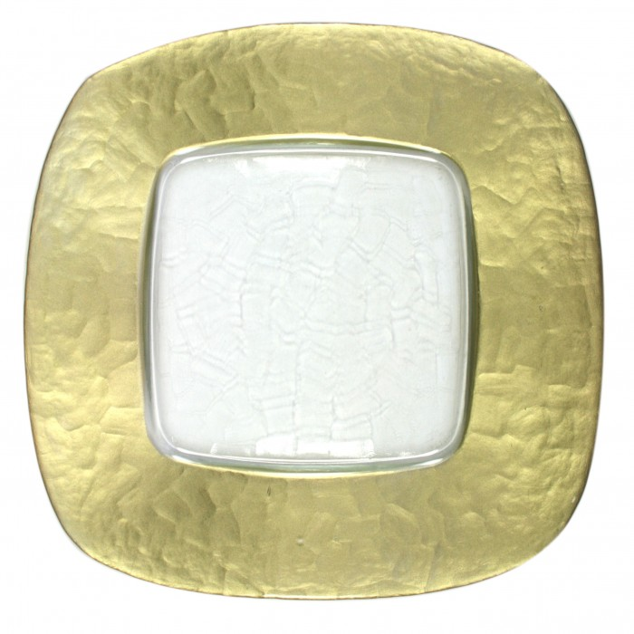"""The Jay Companies 1944004 Square Glass Charger Plate with Gold Edge 13"""" x 13"""""""