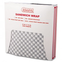 Grease-Resistant Paper Wraps and Liners, 12 x 12, Black Check, 5000/Carton