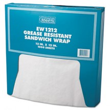 Grease-Resistant Paper Wraps and Liners, 12 x 12, White, 5000/Carton