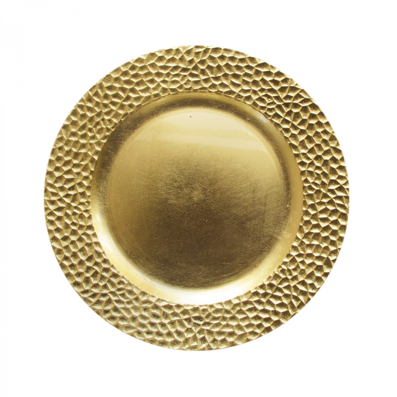 The Jay Companies 1182763 Round Gold Hammered Charger Plate 13""