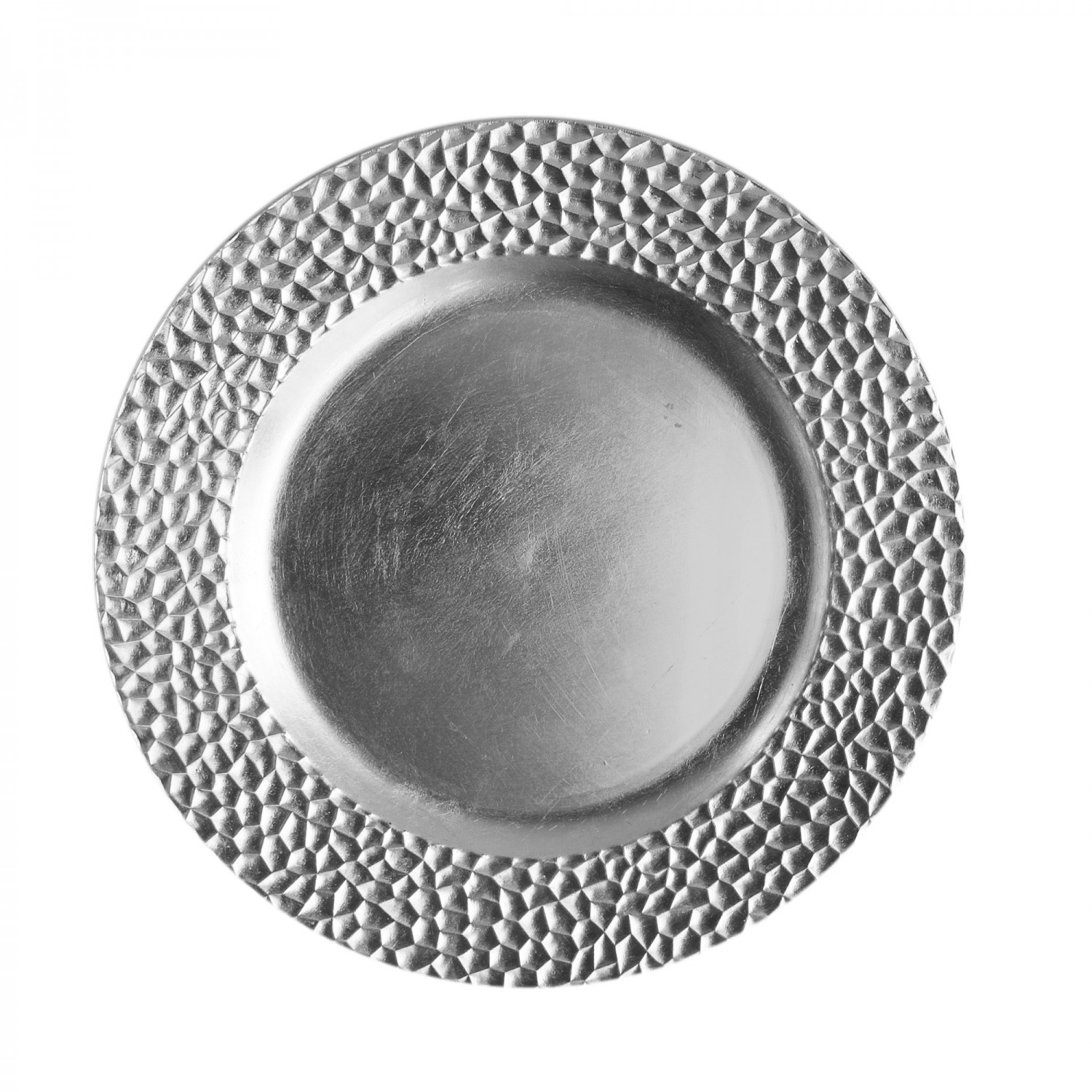 """The Jay Companies 1182764 Round Silver Hammered Charger Plate 13"""""""