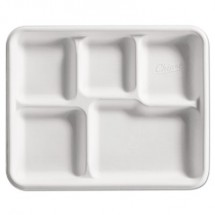 Chinet Heavy-Weight Fiber Cafe Tray, 5-Compartment, 8 1/2x10 1/2, 125/BG, 4 BG/CT