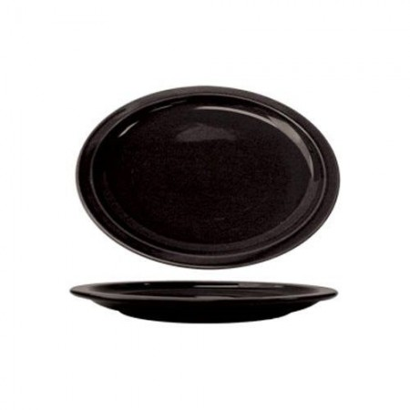"ITI CAN-13-B Cancun Black Narrow Rim Oval Platter 11-3/4"" x 9-1/4"" - 1 doz"