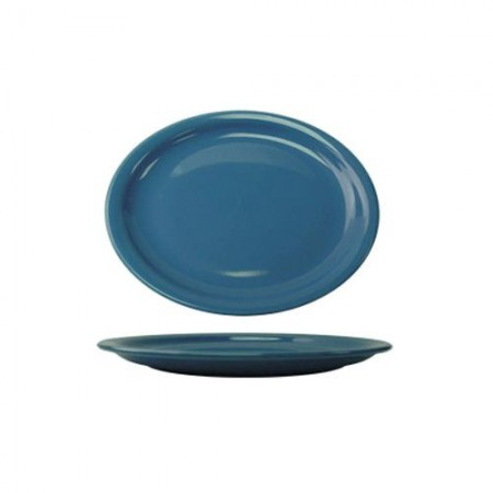 "ITI CAN-13-LB Cancun Light Blue Narrow Rim Oval Platter 11-3/4"" x 9-1/4"" - 1 doz"