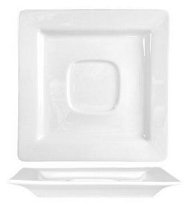 ITI EL-2 Elite Square Porcelain Saucer With Well Ring, 5-7/8 - 3 doz