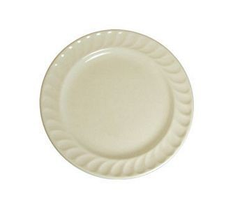 "ITI International Tableware HA-33 7-7/8"" Hampton American White Embossed Fluted Edge Plate - 3 doz"