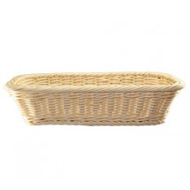 "ITI RB-211 Rectangle13-3/4"" x 7-1/2"" Plastic Rattan Basket - 3 doz"