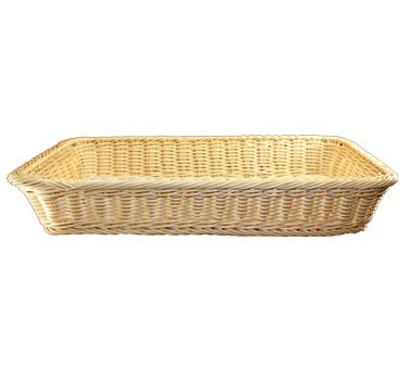 "ITI RB-216 Rectangle 20-1/2"" x 12-1/2"" Plastic Rattan Basket - 24 pcs"