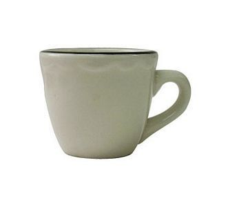 ITI SY-1  8 oz. American White With Black Band Scalloped Edge Tall Cup - 3 doz