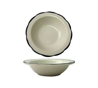 ITI SY-10 8 oz. American White With Black Band Scalloped Edge Grapefruit Bowl - 3 doz