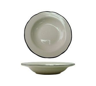 ITI SY-115 22 oz. American White With Black Band Scalloped Edge Pasta Bowl - 1 doz