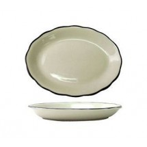 ITI-SY-14-12-3-4-quot--x-9-1-4-quot--American-White-With-Black-Band-Scalloped-Edge-Platter---1-doz