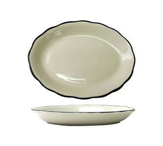 "ITI SY-14 12-3/4"" x 9-1/4"" American White With Black Band Scalloped Edge Platter - 1 doz"
