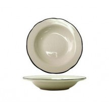 ITI SY-3 10-1/2 oz. American White With Black Band Scalloped Edge Deep Rim Soup Bowl - 2 doz