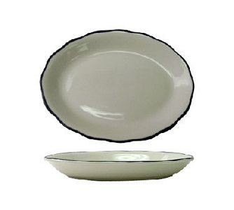 "ITI SY-33 7"" x 5-1/4"" American White With Black Band Scalloped Edge Platter - 3 doz"