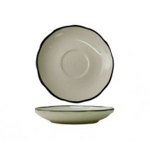 "ITI SY-36 4-7/8"" American White With Black Band Scalloped Edge A.D Saucer - 3 doz"