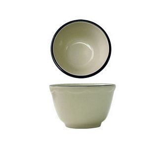 ITI SY-4 8 oz. American White With Black Band Scalloped Edge Bouillon - 3 doz