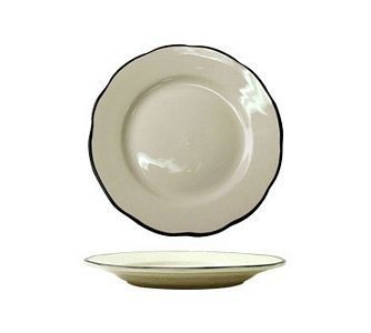 "ITI SY-7 7-3/8"" American White With Black Band Scalloped Edge Plate - 3 doz"