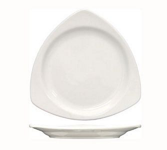 "ITI TR-10-EW Triangular 10-1/2"" European White Plate - 1 doz"