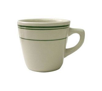 ITI VE-1 7 oz. American White With Green Band Tall Cup - 3 doz