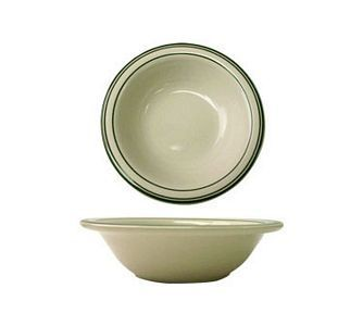ITI VE-10 10 oz. American White With Green Band Grapefruit Bowl - 3 doz