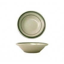 ITI VE-11 4-1/4 oz. American White With Green Band Fruit Bowl  - 3 doz