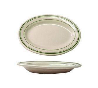 "ITI VE-12 10-3/8"" x 7-1/4"" American White With Green Band Rolled Edge Platter - 2 doz"