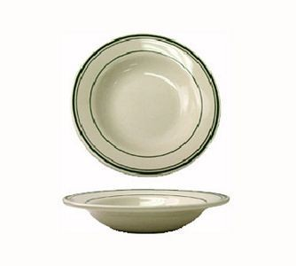 ITI VE-120 24 oz. American White With Green Band Pasta Bowl - 1 doz