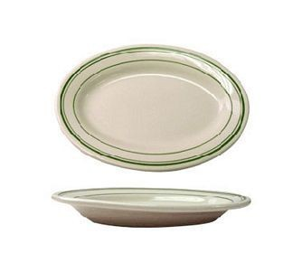 "ITI VE-14 Verona Green Band Rolled Edge Oval Platter 12-1/2"" x 9"" - 1 doz"
