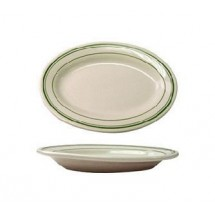 "ITI VE-19 15-1/2 x 10-1/2"" American White With Green Band Rolled Edge Platter - 1 doz"