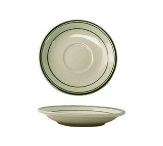 "ITI VE-2 6"" American White With Green Band Saucer - 3 doz"