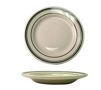 "ITI VE-20 11"" American White With Green Band Rolled Edge Plate - 1 doz"