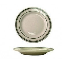 ITI-VE-21-12-quot--American-White-With-Green-Band-Rolled-Edge-Plate---1-doz
