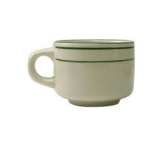 ITI VE-23 7-3/4 oz. American White With Green Band Stackable Cup - 3 doz