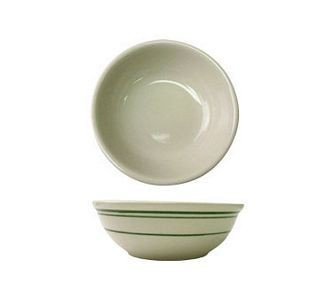 ITI VE-24 10 oz. American White With Green Band Oatmeal / Nappie Bowl - 3 doz