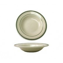 ITI VE-3  12 oz. American White With Green Band Deep Rim Soup Bowl - 2 doz