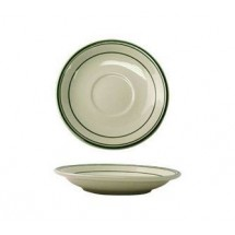 "ITI VE-36 5-3/16"" American White With Green Band A.D Saucer - 3 doz"