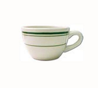 ITI VE-37 7 oz. American White With Green Band Low Cup - 3 doz