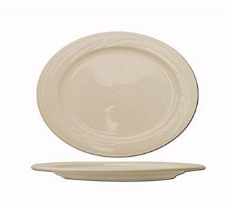 "ITI Y-12 10-1/2"" x 7-3/8"" American White Embossed Platter - 2 doz"