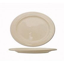 "ITI Y-13 11"" x 7-5/8"" American White Embossed Platter - 1 doz"