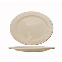 "ITI Y-40 12"" x 8-1/2"" American White Embossed Platter - 1 doz"