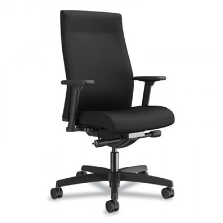 HON Ignition 2.0 Upholstered Mid-Back Adjustable Lumbar Black Task Chair