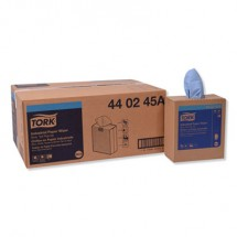 """Tork Industrial 4-Ply Paper Wipers, Blue, Pop-Up Box, 8-1/2"""" x 16-1/2"""", 900/Carton"""