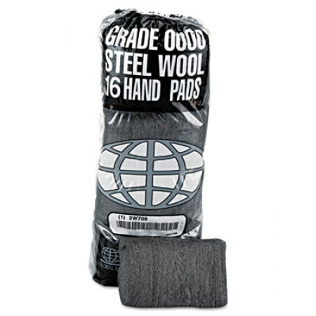 Industrial-Quality Steel Wool Hand Pad, #0000 Super Fine, 16/Pack, 192/Carton