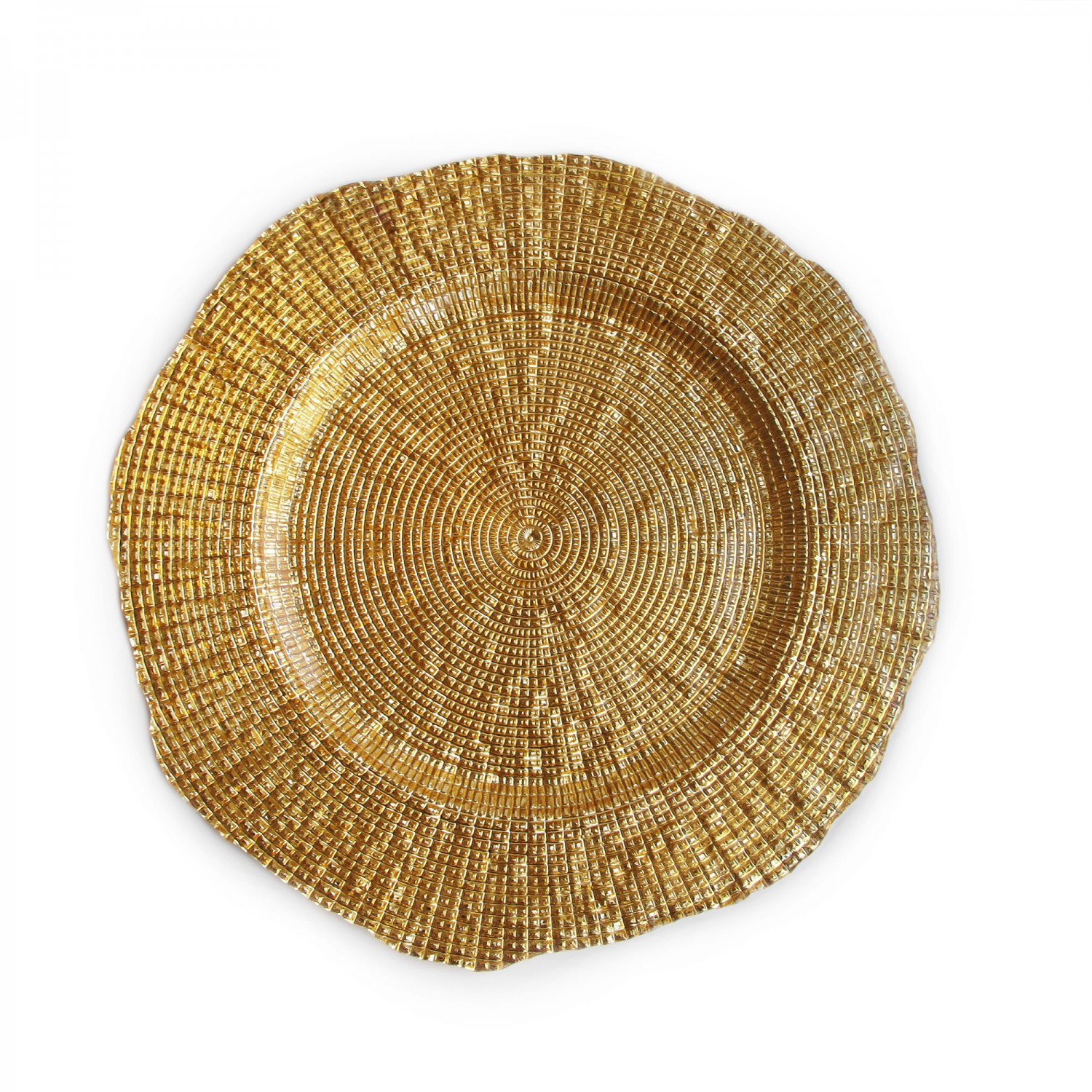 The Jay Companies 1470336 Round Infinity Gold Glass Charger Plate 13""