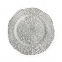 """The Jay Companies 1470337 Round Infinity Silver Glass Charger Plate 13"""""""