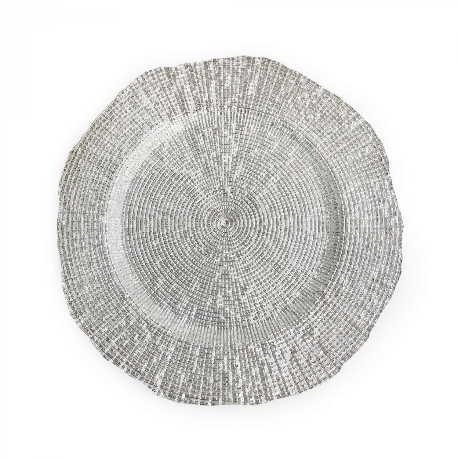 The Jay Companies 1470337 Round Infinity Silver Glass Charger Plate 13""