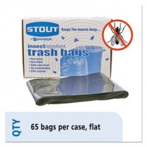 """Insect-Repellent Trash Bags, 45 gal, 2 mil, 40"""" x 45"""", Black, 65/Box"""